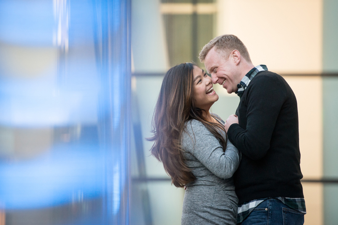 couple laughing boston engagement photo