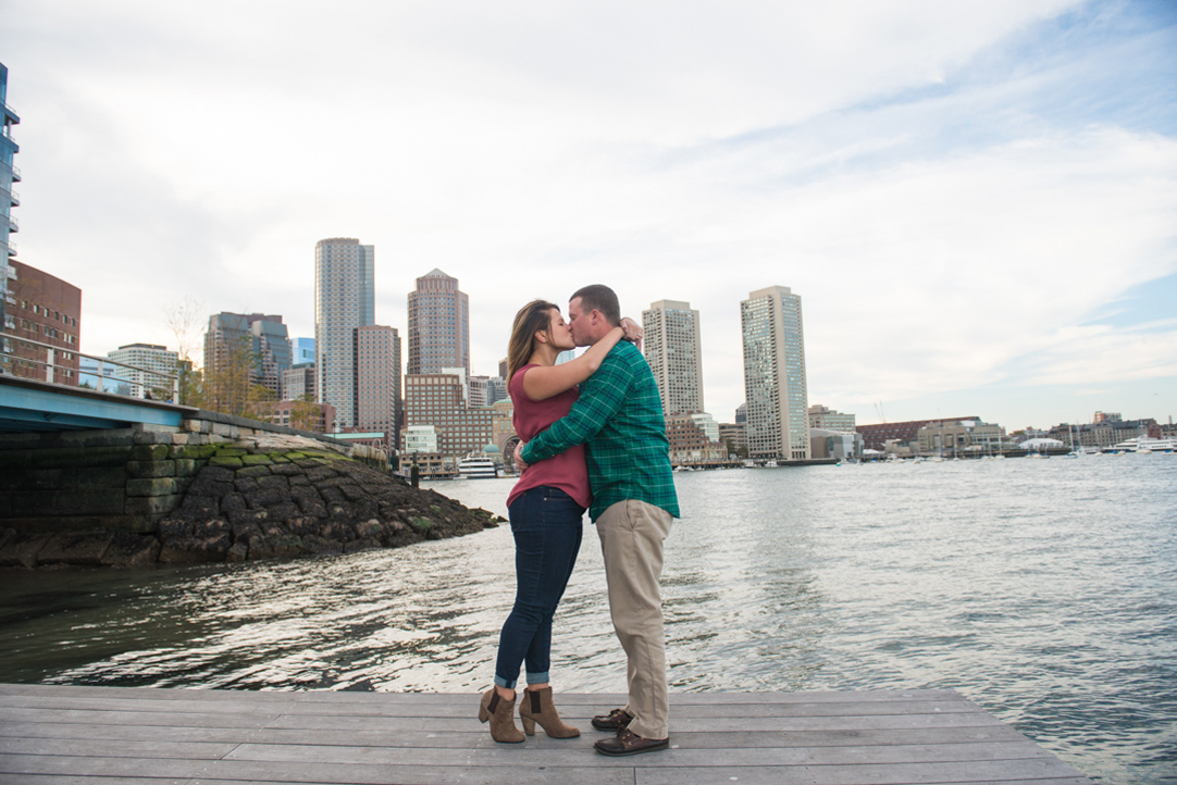 couple kissing in boston seaport