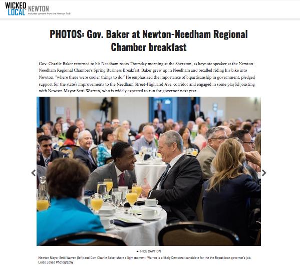 Gov. Baker at Newton-Needham Regional Chamber Breakfast
