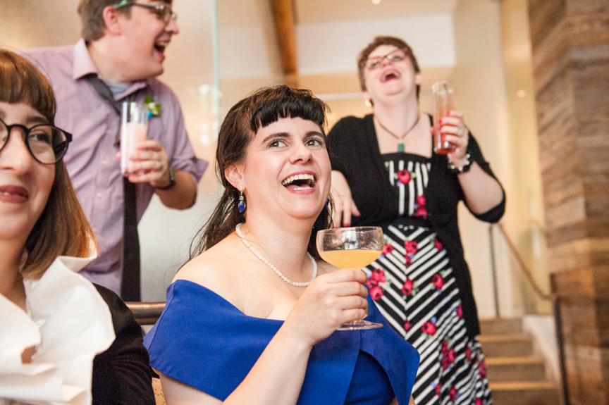 crowd reacts to a great wedding toast