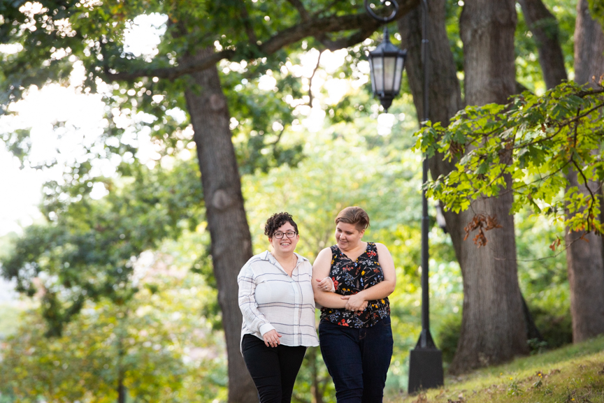 queer couple engagement photos wellesley college
