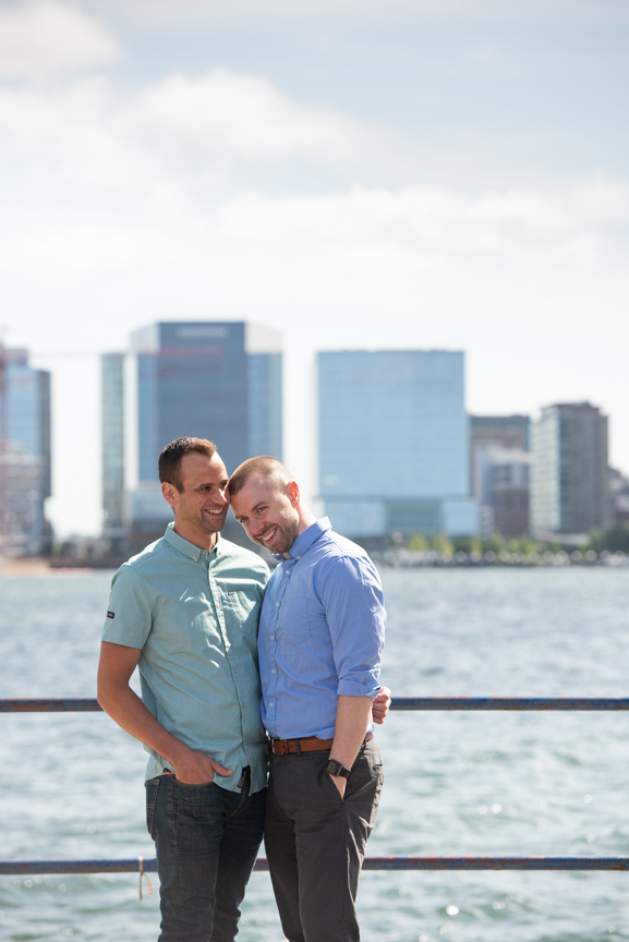 engagement photos gay couple piers park east boston