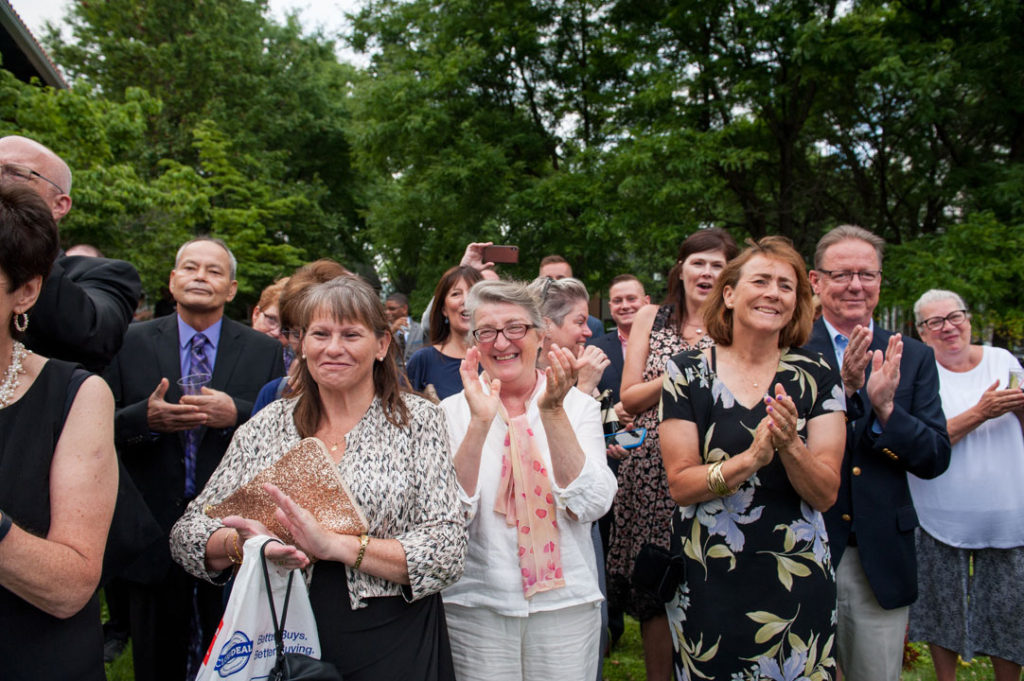 a joyful applause at the end of a wedding ceremony