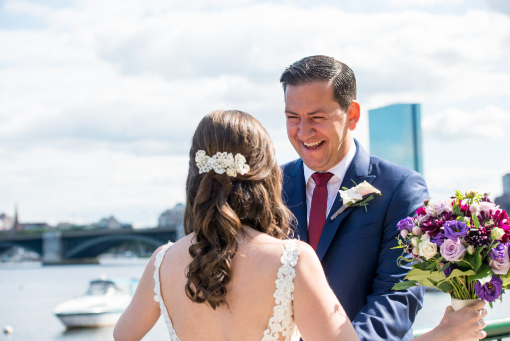 cambridge wedding first look charles river